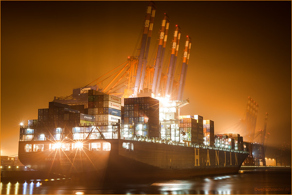 Hanjin United Kindom Length: 350 meters Width: 46 meters  Power and tranquility. Steel cranes waiting in silence.